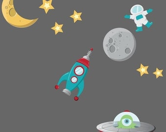 Spaceship Wall Decal - Childrens Fabric Reusable Wall Decal