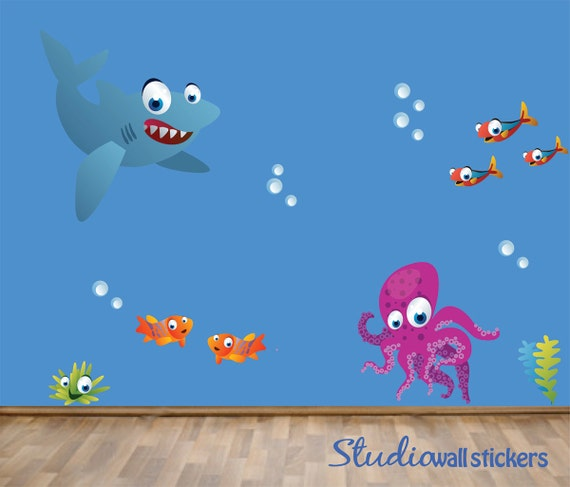 REUSABLE Fish Shark Wall Decal - Childrens Fabric Wall Decal - extra large