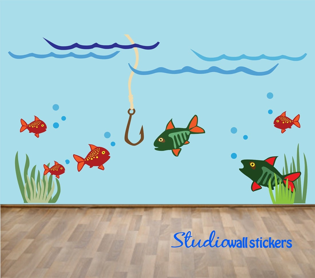 reusable fish wall decal childrens reusable fishing wall With fish wall decals
