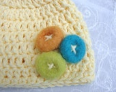 Newborn Baby Beanie Hat crocheted with soft yellow cotton yarn adorned with multi color flower cluster~Newborn Baby Hat~Cotton Newborn Hat