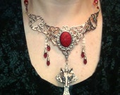 gothic,victorian,necklace, blood and wolf