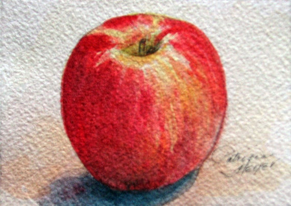 """Original ACEO Watercolor Painting / Titled """"Red Apple"""" / Kitchen Decor / Size 2.5""""x3.5"""""""