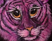 Pink Tiger - 8x10 art print of a Pink Tiger Painting - Printed on metallic photo paper