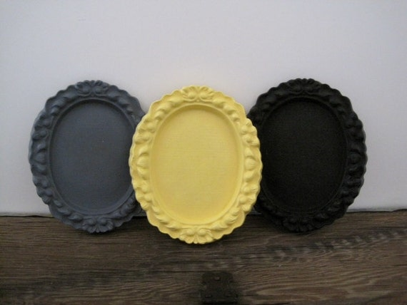 Yellow and Gray  Picture Frames Unique Wall Decor Set of 9 Oval Ornate 4x5