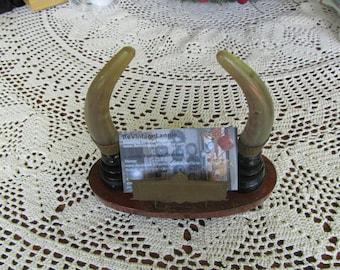 Business Card Holder Man Cave Decor Deer Antler  Goat Horn Trophy Mount Business Card Holder Executives Office Desk Decor