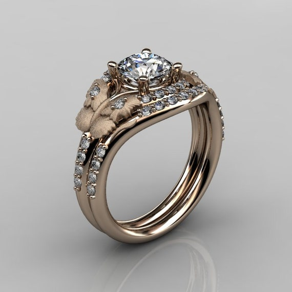 14KT Rose Gold Diamond Leaf and Vine White Sapphire Wedding Ring,Engagement Ring NN117SS-14KRGDWS Nature Inspired Jewelry