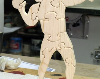 Football Player Stand Up Puzzle Wood
