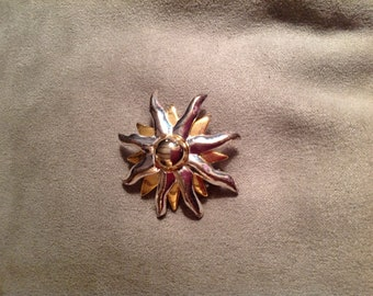 Vintage Silver and Goldtone Sunburst Brooch
