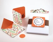 SALE - Notepad & Mini Card Gift Set - Leaves, Orange, Brown - Perforated, Stitched Notepad - Mini Card w/ Seal and Envelope - 50% OFF