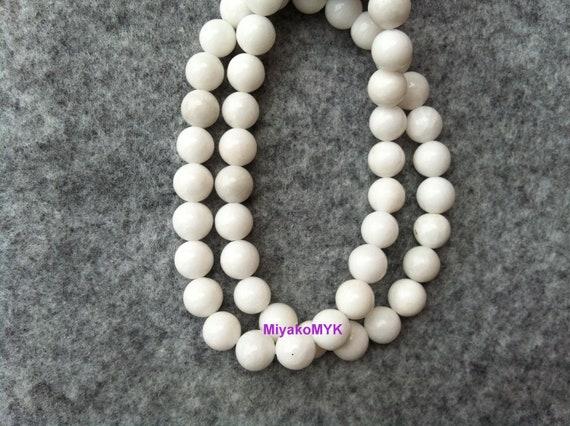 1 Strand 8mm Round White Agate Gemstone Bead Semi Precious Gemstones Natural Beads