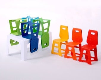 Modern Minimalist  Paper Furniture Set: Table and 6 Chairs red, orange, yellow, blue, green, navy