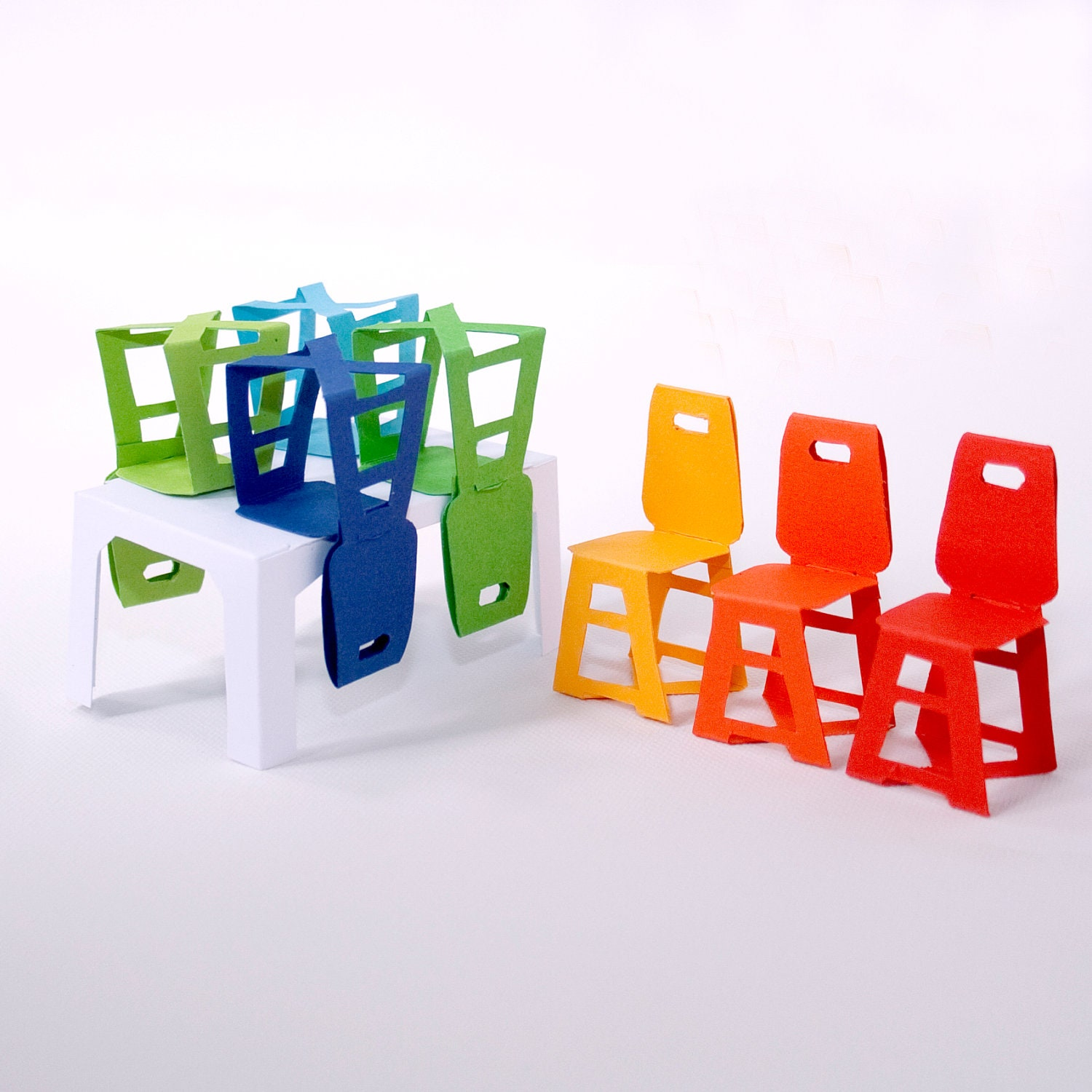 Modern minimalist paper furniture set table and 6 chairs - Paper furniture ...