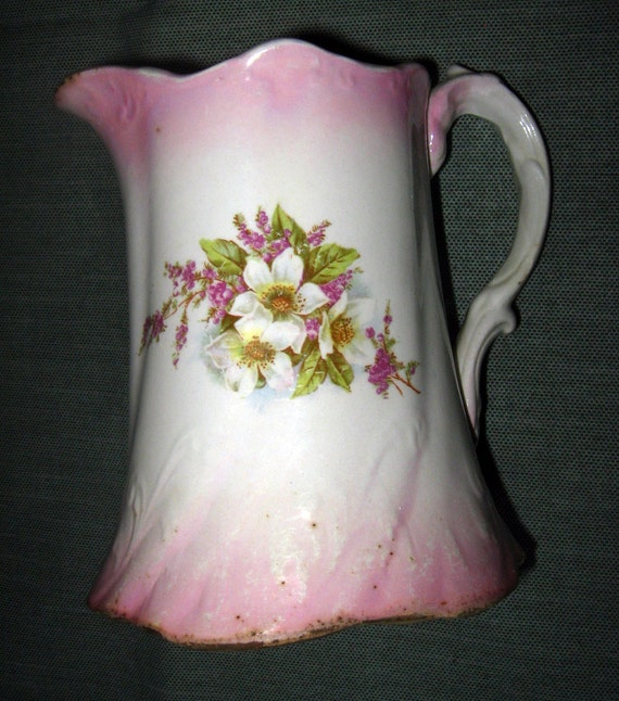 East End China Company Pitcher, Purple & White Flowers, Pink Trim, ca. 1905