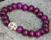 White Skull Purple Wooden Beaded Bracelet