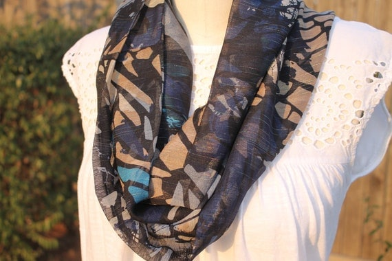 Infinity Scarf,  Silk scarf, Loop scarf, Blue Stained glass