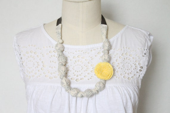 Fabric Necklace,Teething Necklace, Chomping Necklace, Nursing Necklace - Gray and Yellow