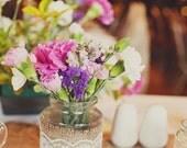 Vintage style, hessian and lace wrapped jam jar vase.