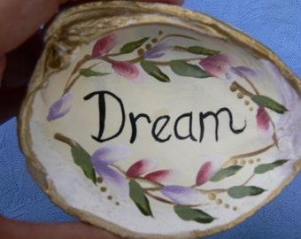 Dream Clam Shell Art Hand Painted Lavender Beach Decor by Sally Tia Crisp