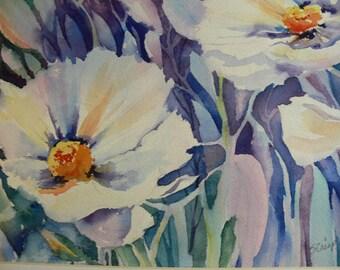 "White Purple Garden Poppy Painting  Watercolor Art Print 8.5"" x 11"" SallyTCrispCreations"