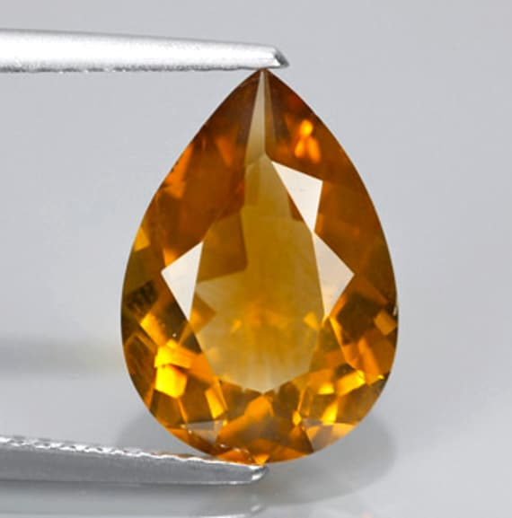 Stunning Golden Orange Natural Citrine Faceted Pear 3.11 Ct. 13x9mm, Brazil