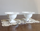 Milk Glass Compote Pair, Scrolled Bouqet Design, Candy Buffet, Wedding, Cottage Chic