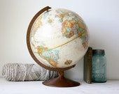 Vintage Globe- Sepia Toned 12 Inch Replogle