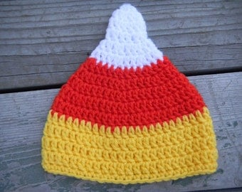 Cute Candy Corn Crochet Hat -- This pattern includes written instructions for sizes newborn - 6-12 Months