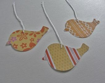 Tangerine Orange Bird Gift Tags, Summer Birthday Gift Tags, Decorative Orange Paper Tags, Set of 12