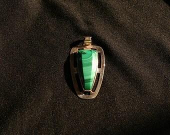 Beautiful Malachite Pendant set in Silver