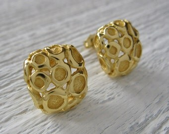 Studs Earrings, Studs Jewellery, Square Studs, Tiny Stud Earrings, Handmade, Studs 18 Kt Gold plating, Contemporary Fine Jewelry