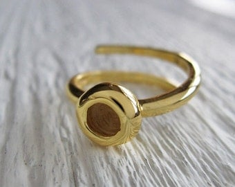 Tiny Stacking Adjustable Handmade Ring in Recycled 925 Solid Sterling Silver with 18 Kt Gold plating