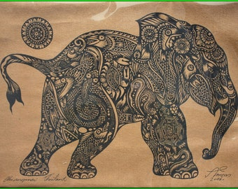 Thai traditional art of  Little Elephant (Calf) by silkscreen printing on cotton