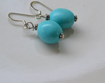 Too Cute Turquoise Earrings. Gift under 20, 925 Sterling Silver