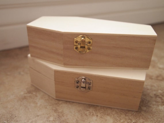 6 inch halloween unfinished plain wood coffin box