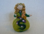 Needle Felted waldorf style forest maiden doll- Standing Lady doll- Nature Table-MADE TO ORDER