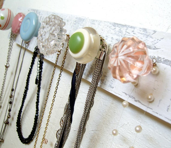 Necklace and Accessory Hanger in Light Pink, Green, and Blue