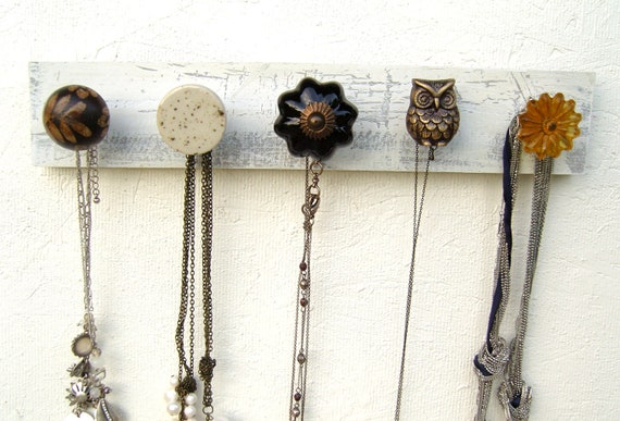 Wall Mounted Jewelry Holder with a Brass Owl Knob and Neutrals