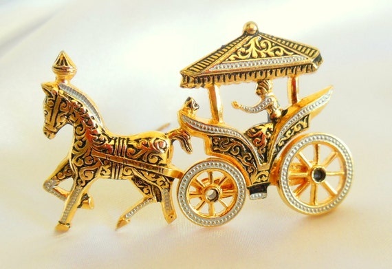 Vintage Brooch Spanish Damascene Chariot Gorgeous Kinetic Figural Piece