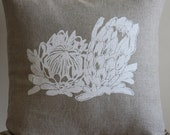 Natural Linen Pillow Covers white screen printed Proteas Flowers Pillows eco friendly ink South African Wildflowers Decorative Cushions