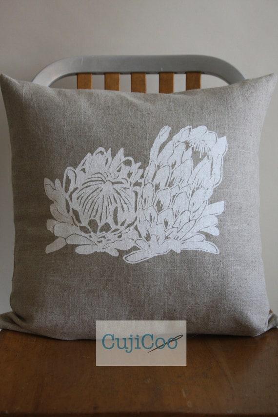 Linen Pillow Cover - Protea Pillow Cover - Screen Printed Pillow Cover - Flower Pillow Cover - Decorative Pillow Cover  18 x 18 Pillow Cover