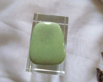Gemstone Trapezoid Pendant Bead Lemon Chrysophase Stone
