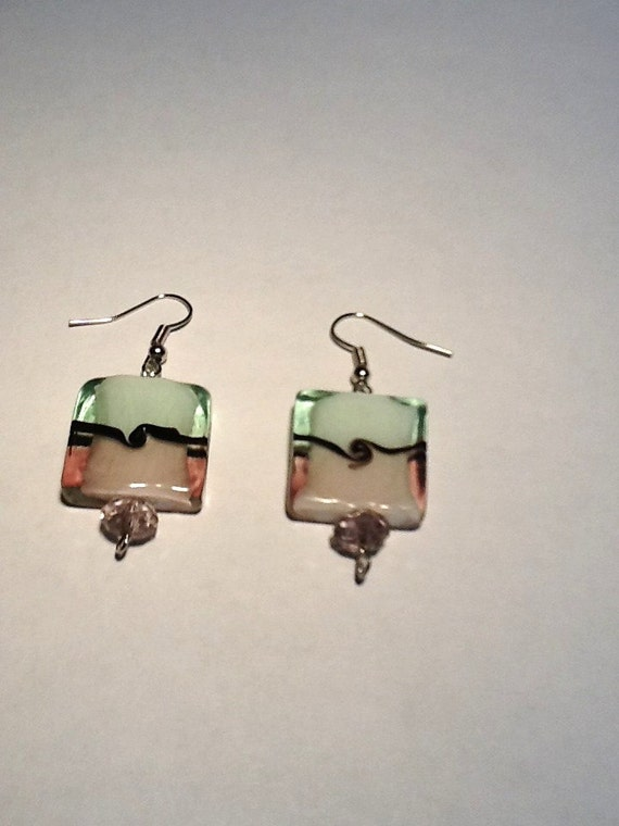 Handmade Pink and Light Green Square Lampwork Earrings