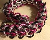 Elf Weave Chain Maille Bracelet Pink