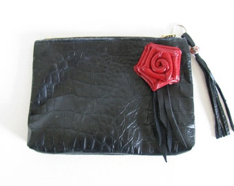 Black Embossed Leather / Red Leather Rose Clutch Bag / Cosmetic Bag / Hand Bag