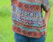 Vintage Tribal Print Silk Blouse Size M/L
