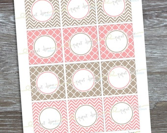 INSTANT DOWNLOAD - Editable and Printable 2 inch party circles: Shabby, Pink, Coral, Brown, Gray, Beige - Type your own text and print