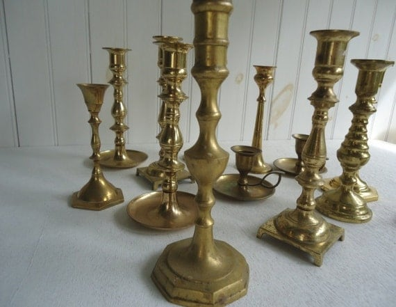 Vintage Brass Candlesticks, Eclectic Mix of 12