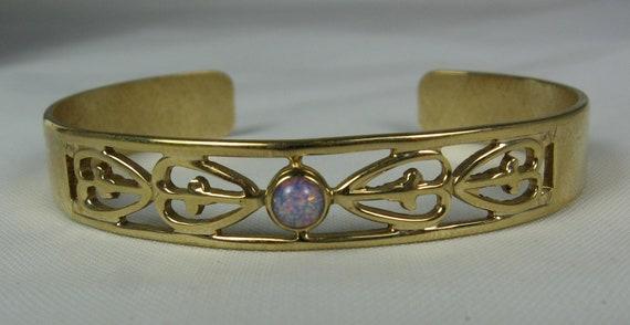 Vintage Signed Avon Faux Opal Rhinestone Cuff Bracelet Gold Tone