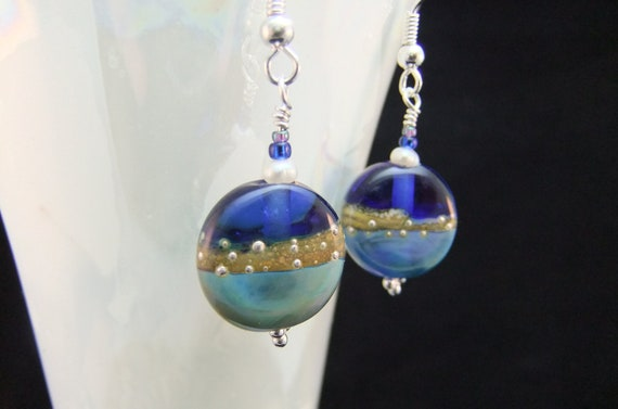 Tropical Ocean Blue and Golden Sands Earrings
