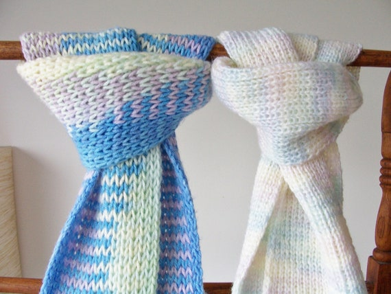 RESERVED FOR SERENA - 2 Knitted warm, cozy yarn tassled scarves in pastel colours - pastel winter scarves - soft colourful scarves